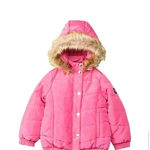 Bebe puffer jacket faux fur hood